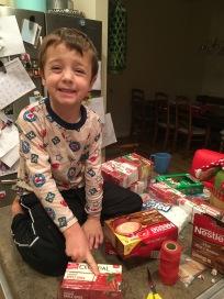Jack helping wrap
