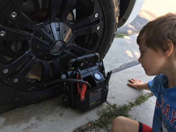 Making sure the car tires are ready to go!
